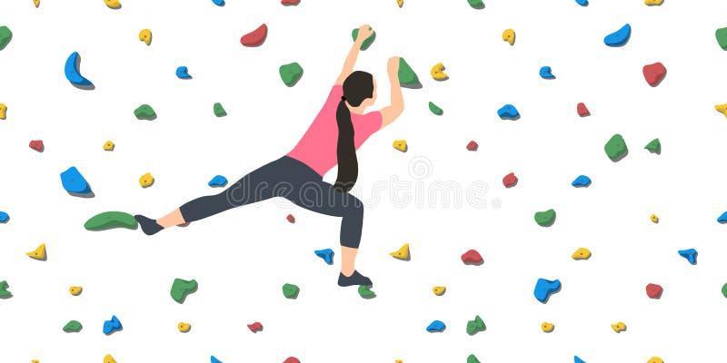 Kvinna på klättringväggen vektor illustrationer