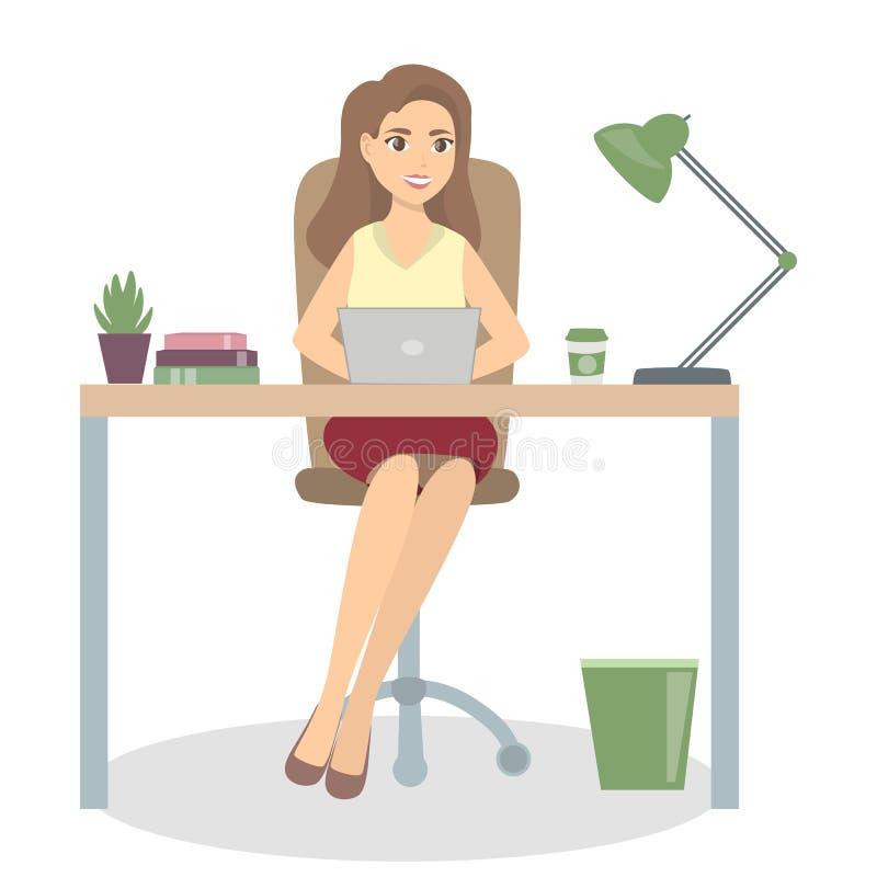 Kvinna på kontoret vektor illustrationer