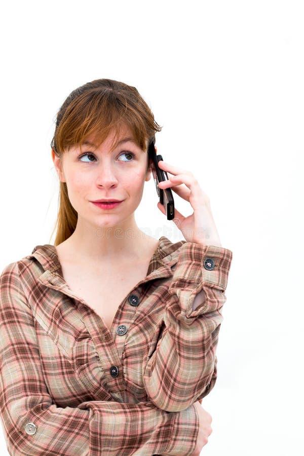 Kvinnan ringer på royaltyfri bild