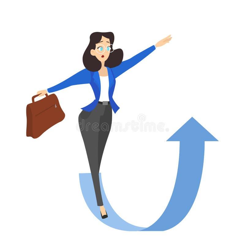 Kvinna på pilen som pekar upp Idé av tillväxt vektor illustrationer