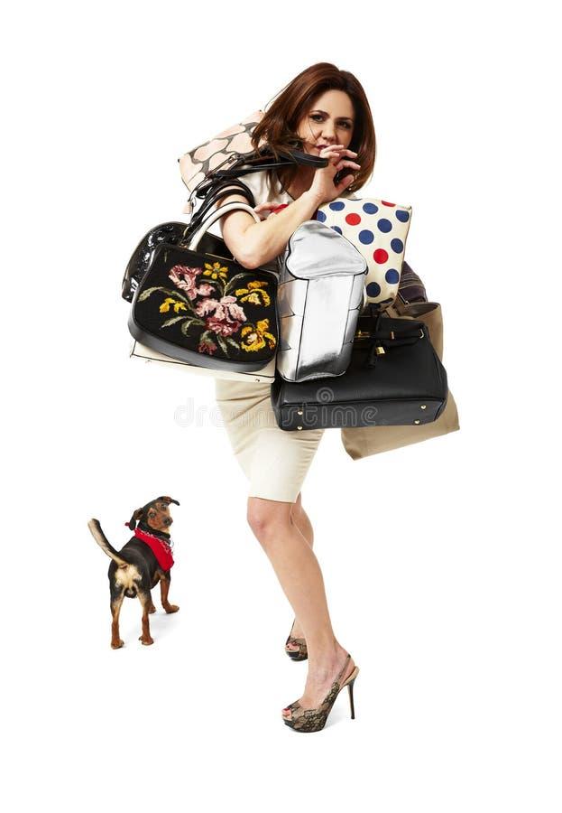 Kvinna på shopping royaltyfri foto