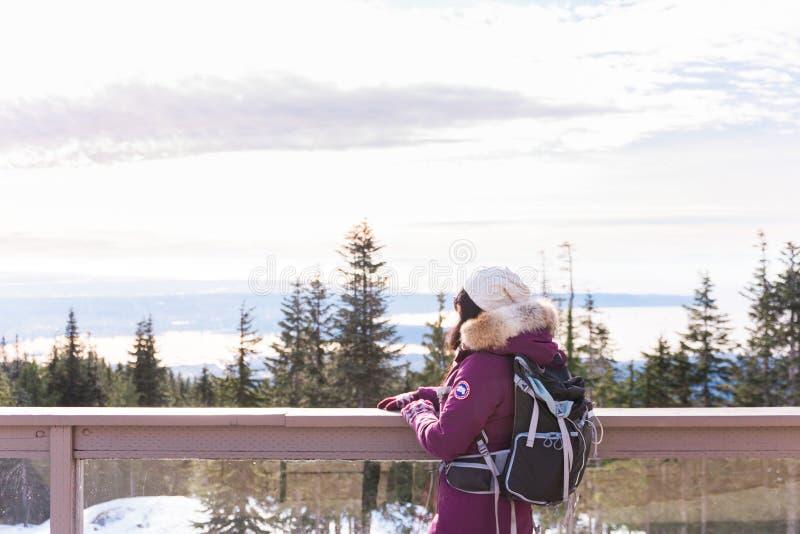 Kvinna på skogshönsberget royaltyfri fotografi