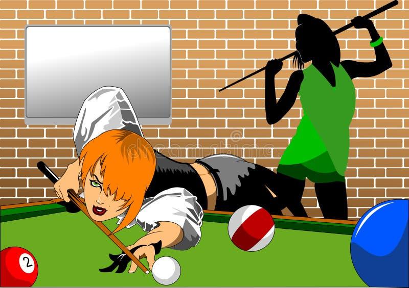 Kvinna på snooker royaltyfri illustrationer