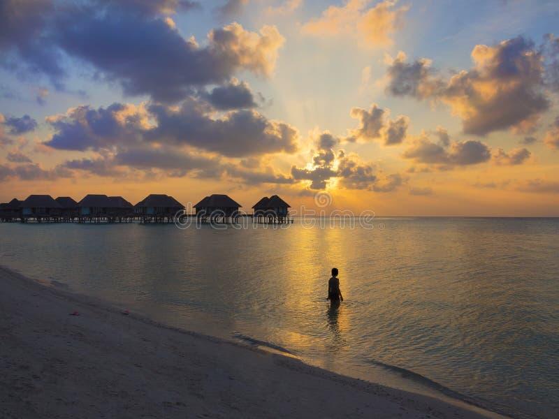 Kvinna På Solnedgången Arkivfoto