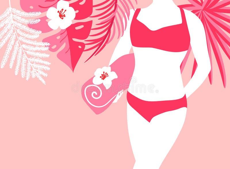 Kvinna på stranden med handduken Vektorillustration med kopieringsutrymme Sommarflicka på bakgrund av palmblad i baddräkt som är  vektor illustrationer