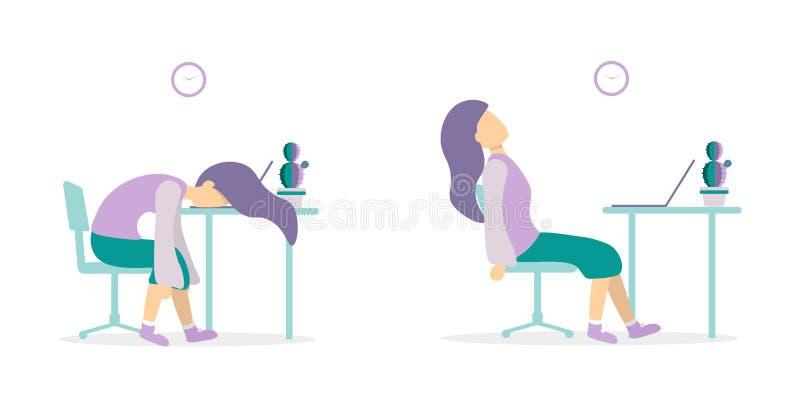 Kvinna på tabellen som är trött med versioner för bärbar dator 2 stock illustrationer
