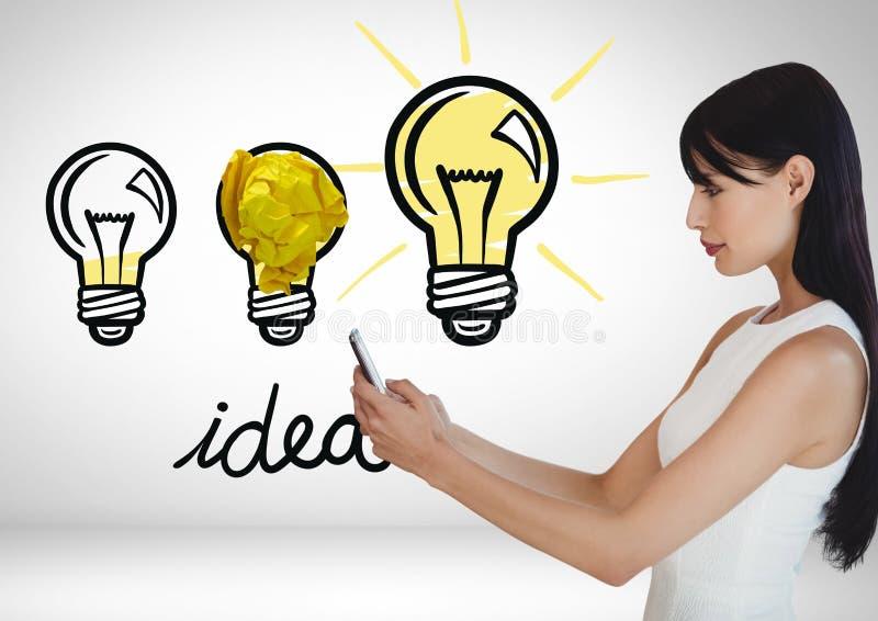 Kvinna på telefonanseende bredvid idé för ljusa kulor med den skrynkliga pappers- bollen stock illustrationer