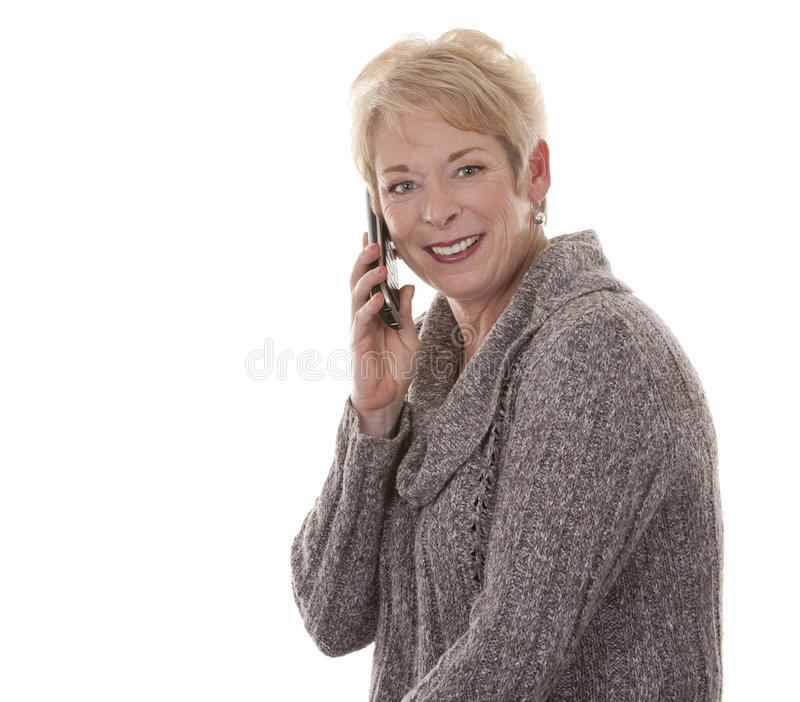 Kvinna på telefonen royaltyfri fotografi
