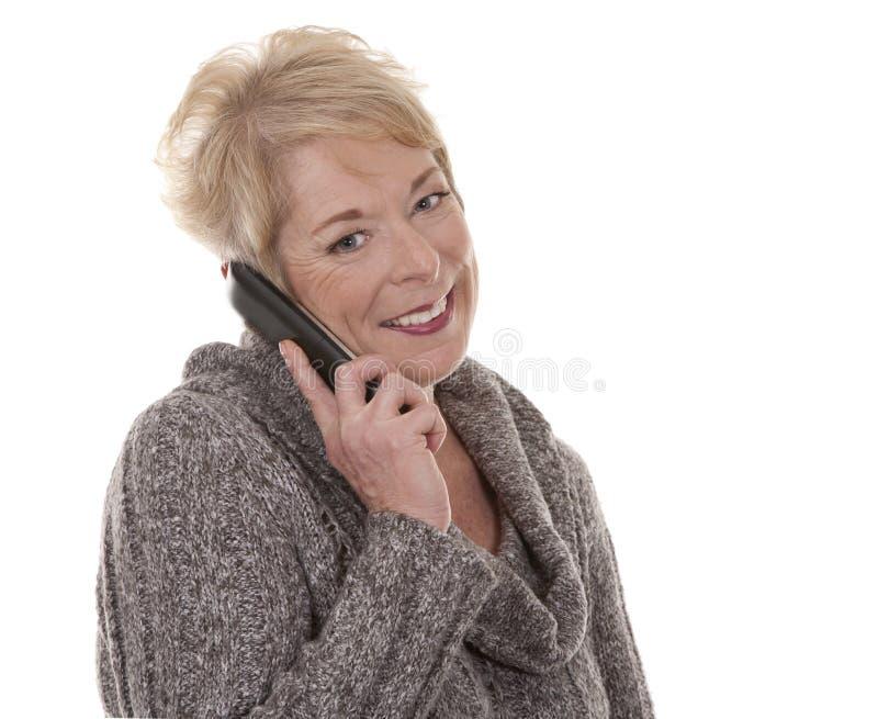 Kvinna på telefonen royaltyfri bild