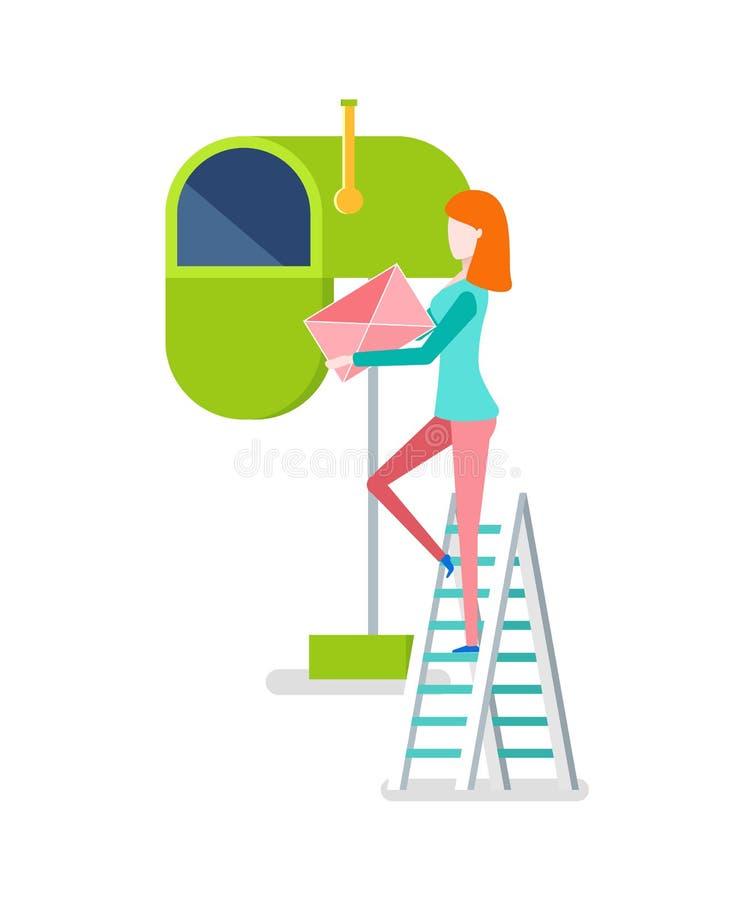 Kvinna på trappa som sätter kuvertet i brevlådavektor stock illustrationer