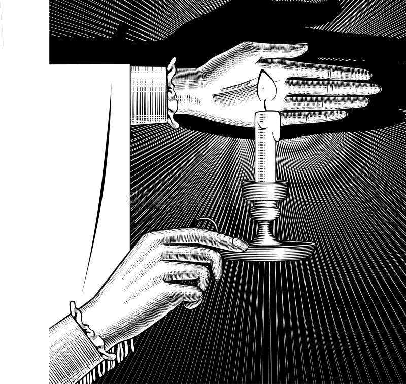 Kvinna` s räcker att rymma en ljusstake med bränningstearinljuset på svart stock illustrationer