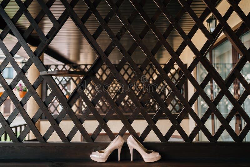 Kvinna` s skor vit en brun bakgrund arkivfoto