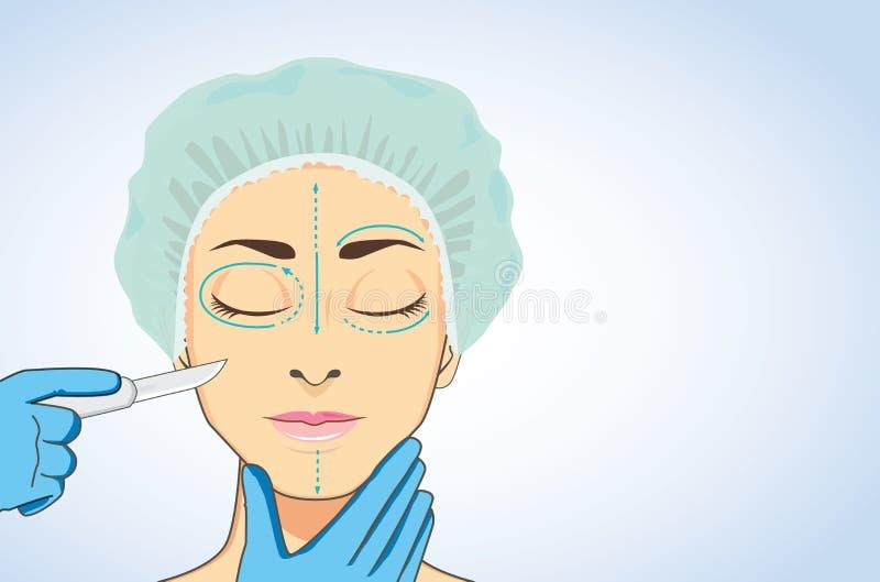 Kvinna som är klar till kosmetisk kirurgi vektor illustrationer