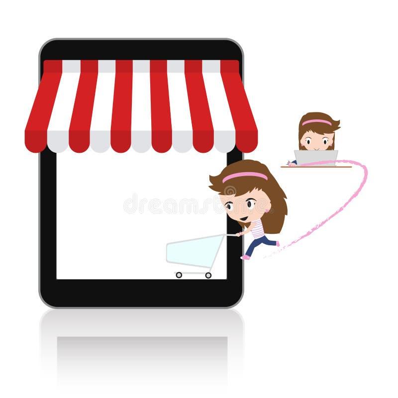 Kvinna som är lycklig att göra shopping via PC och för mobil e-kommers för minnestavla begrepp online-lager stock illustrationer