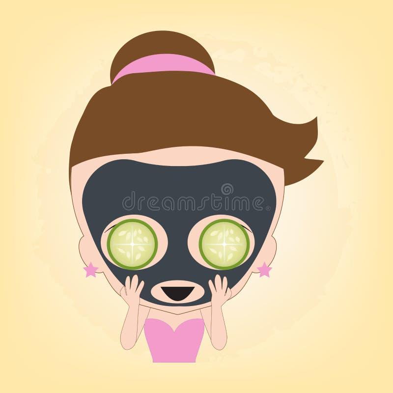 Kvinna som är lycklig med ansiktsbehandlingsvartmaskeringen med gurkan på framsidan för den sunda brunnsorten, illustrationvektor stock illustrationer