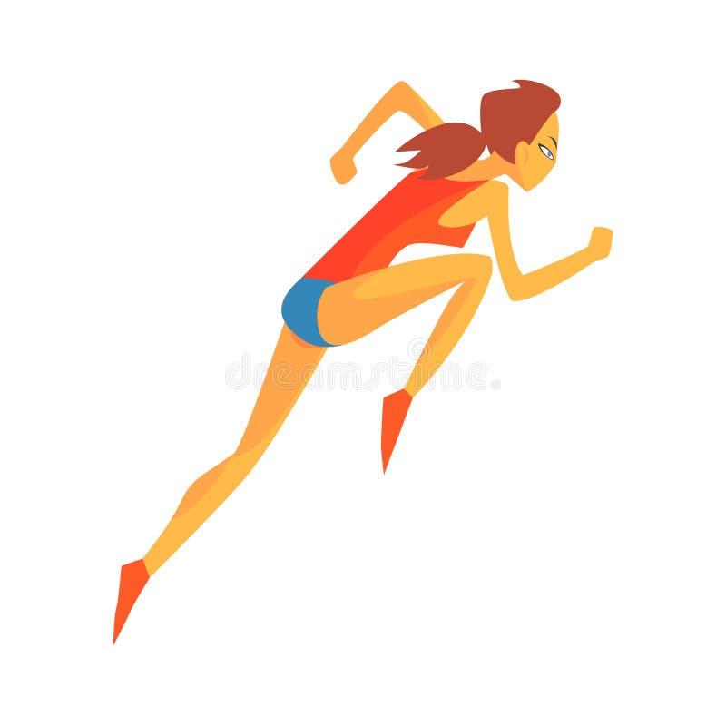 Kvinna som accelererar på loppstarten, kvinnlig idrottsman som kör spåret i röd överkant och blått kort i tävlings- konkurrens stock illustrationer