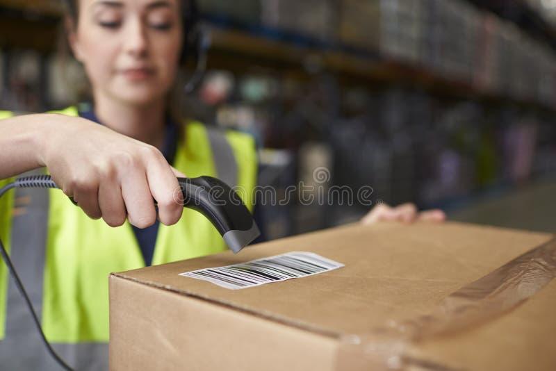 Kvinna som använder barcodeavläsaren på en ask i ett lager, detalj royaltyfri bild
