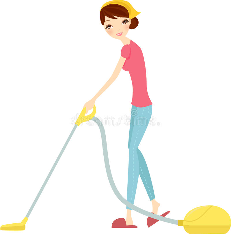 kvinna som använder dammsugare på vit vektor illustrationer