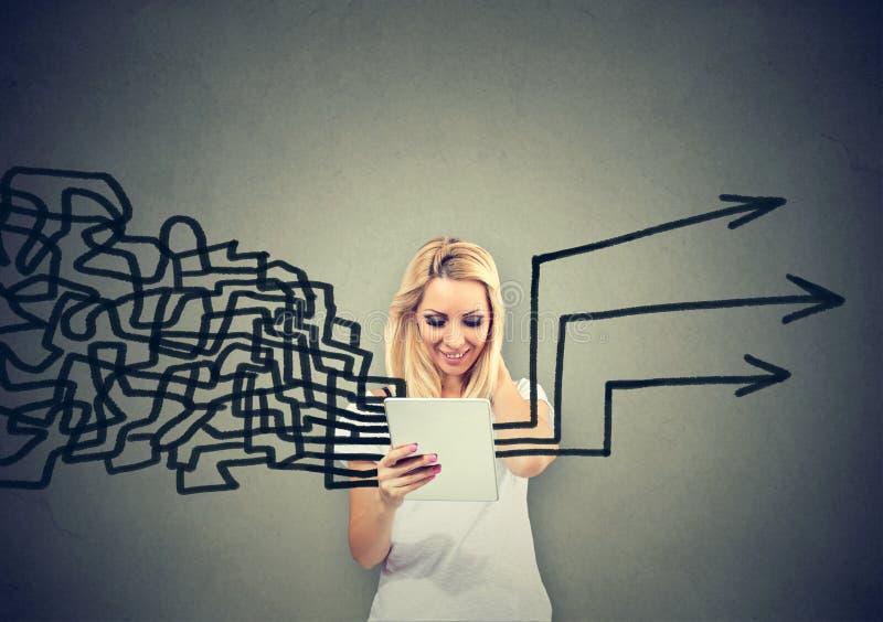 Kvinna som använder minnestavladatoren som får hennes tankar som planerar tillsammans royaltyfri bild