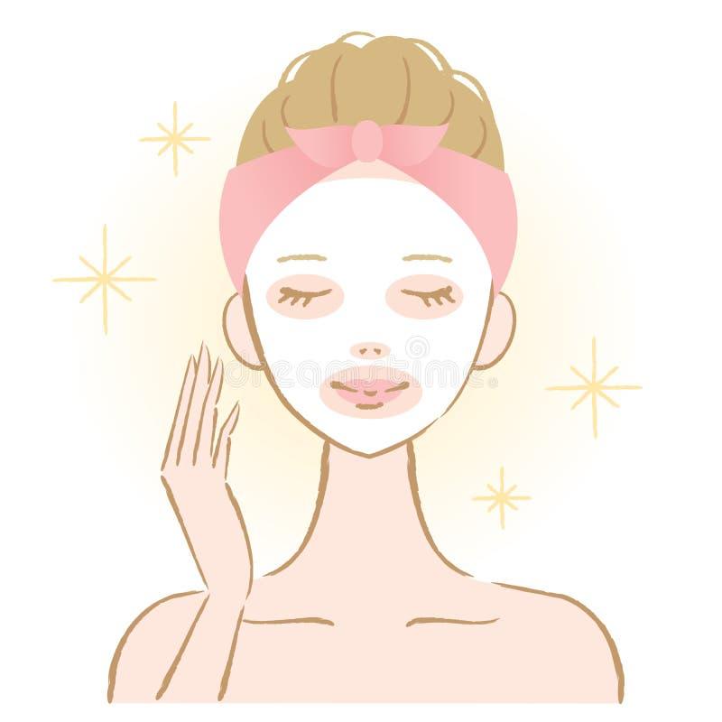 Kvinna som applicerar ansiktsmask royaltyfri illustrationer