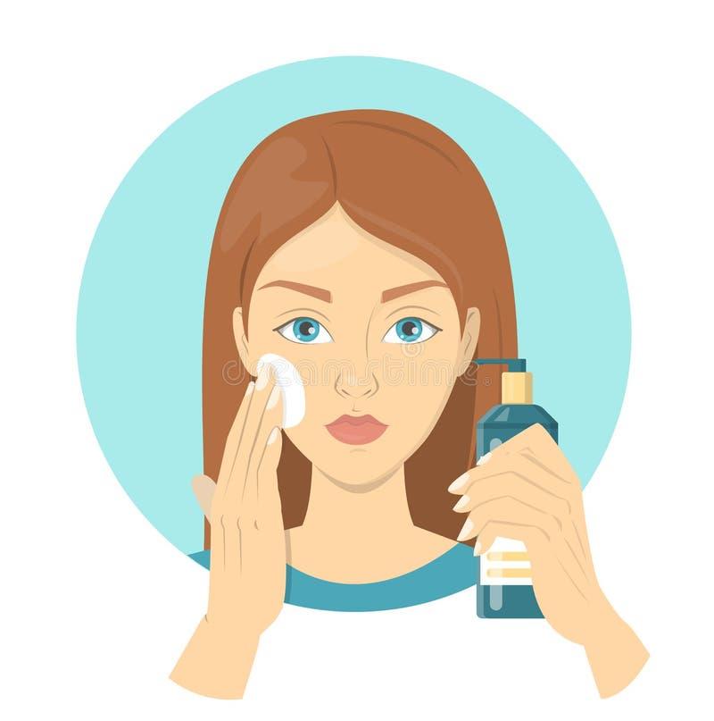 Kvinna som applicerar en sunscreen för perfekt makeup royaltyfri illustrationer