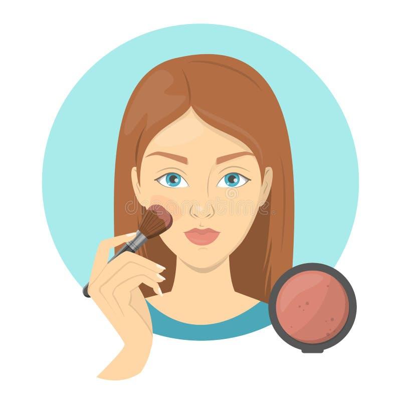 Kvinna som applicerar framsidarodnaden för perfekt makeup stock illustrationer