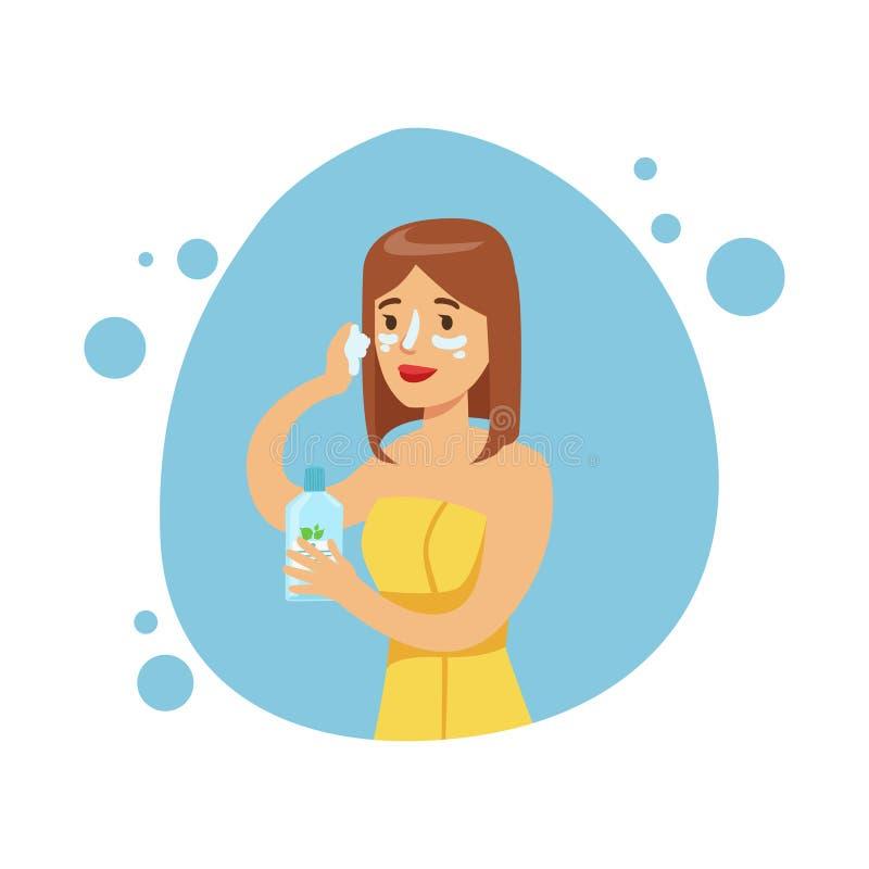 Kvinna som applicerar fukta kräm på framsidan, del av folk i badrummet som gör deras rutinmässiga hygientillvägagångssättserie vektor illustrationer