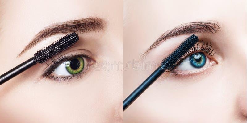 Kvinna som applicerar mascara på ögonfrans med borsten royaltyfri fotografi