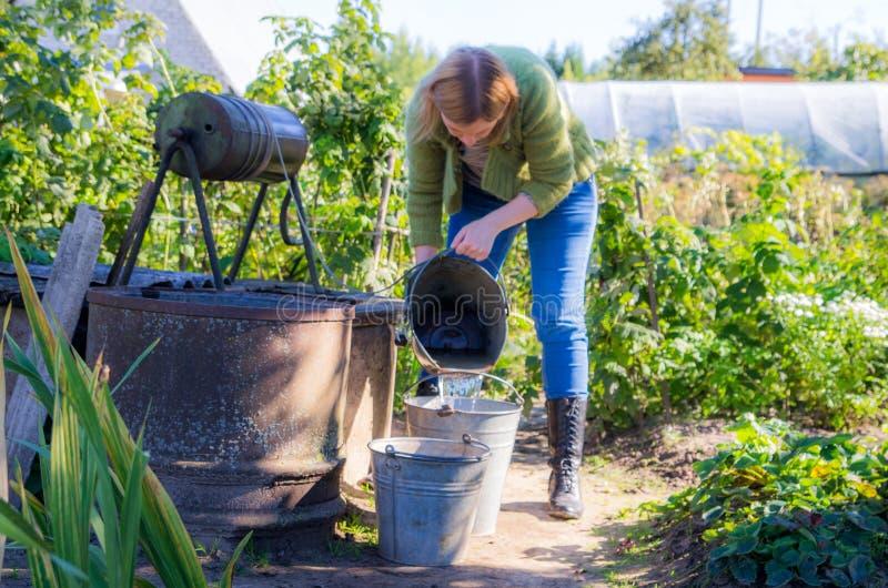 Kvinna som arbetar i en trädgård arkivbilder