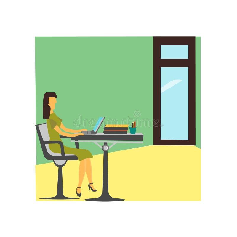 Kvinna som arbetar i tecknet och symbolet för kontorsvektorvektor som isoleras på vit bakgrund, kvinna som arbetar i kontorsvekto royaltyfri illustrationer