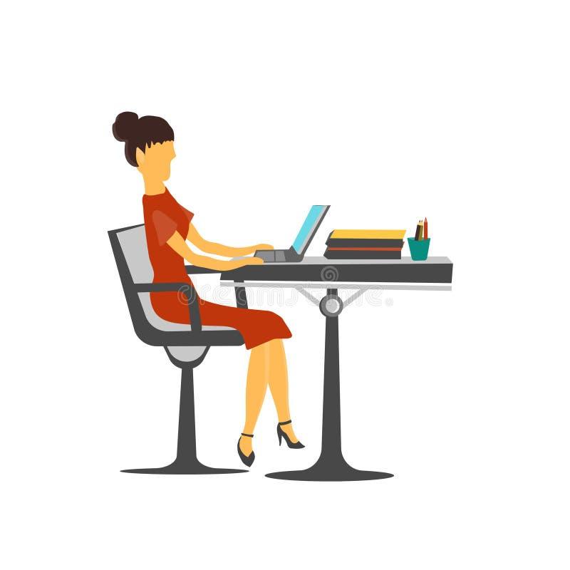 Kvinna som arbetar i tecknet och symbolet för kontorsvektorvektor som isoleras på vit bakgrund, kvinna som arbetar i kontorsvekto stock illustrationer