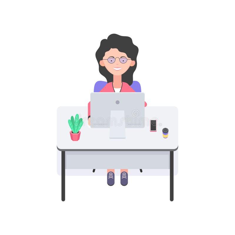 Kvinna som arbetar på datoren stock illustrationer