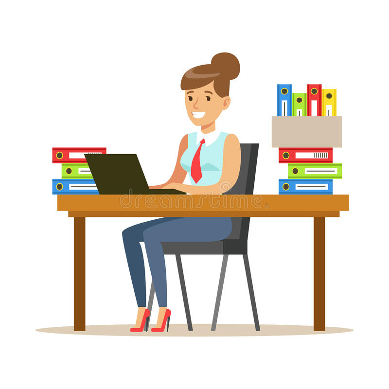 Kvinna som arbetar på hennes skrivbord med datoren och mappar, del av serie för kontorsarbetare av tecknad filmtecken i represent vektor illustrationer