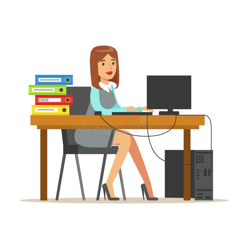 Kvinna som arbetar på hennes skrivbord med datoren och mappar, del av serie för kontorsarbetare av tecknad filmtecken i represent stock illustrationer