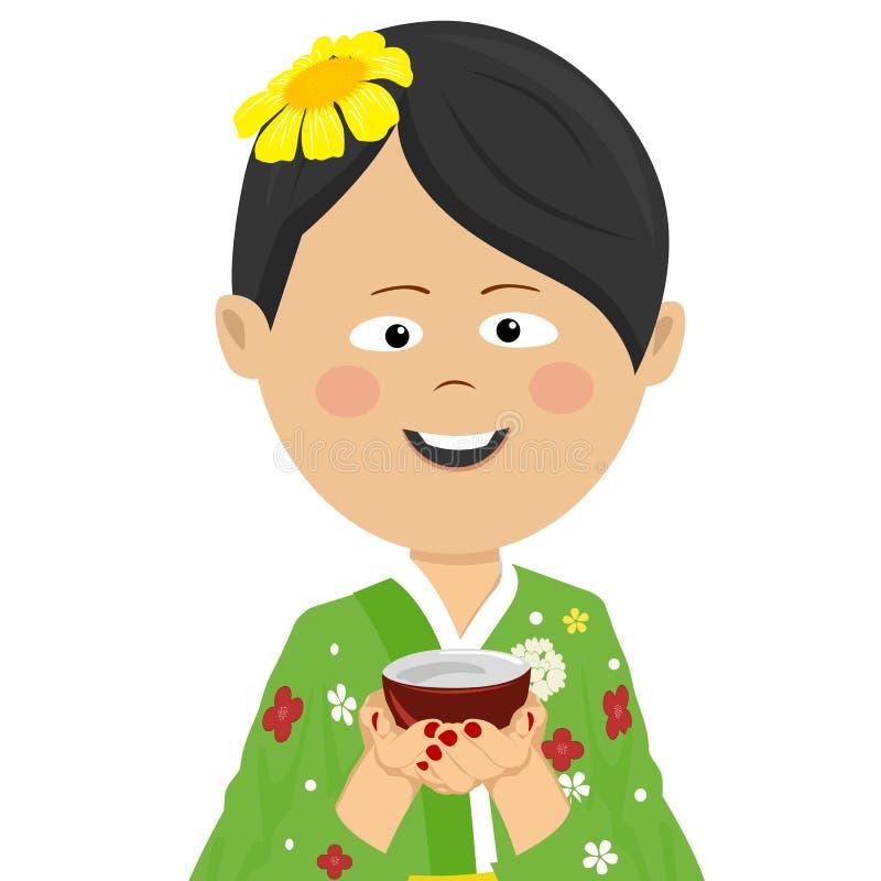 Kvinna som bär den japanska sommarkimonot som rymmer en tekopp vektor illustrationer