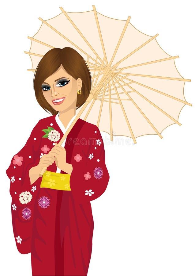 Kvinna som bär den röda kimonot och innehavet en japansk slags solskydd stock illustrationer