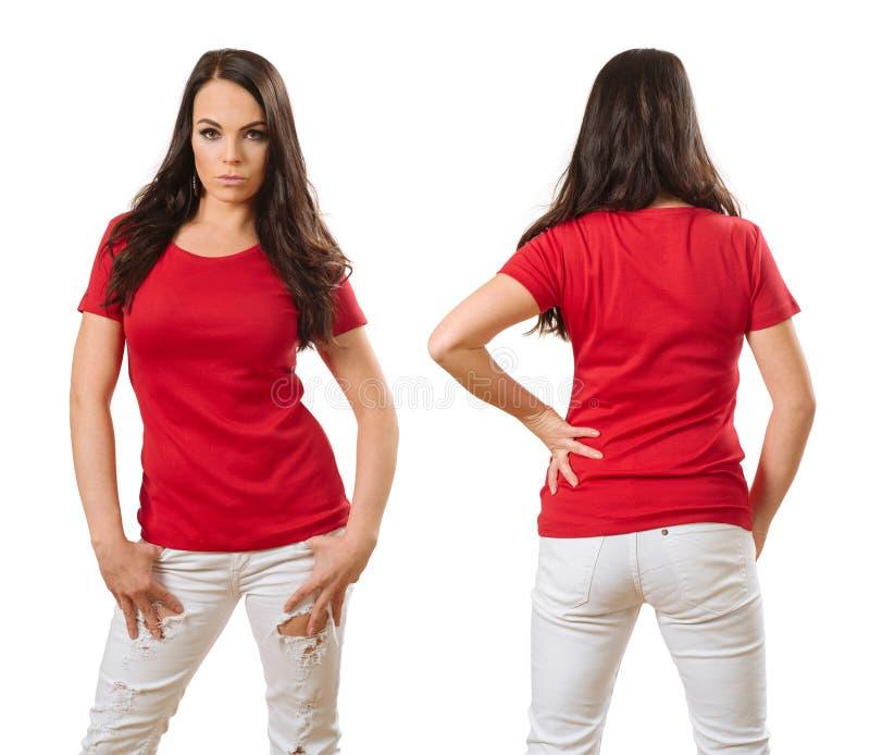 Kvinna som bär den tomma röda skjortaframdelen och baksida arkivbild
