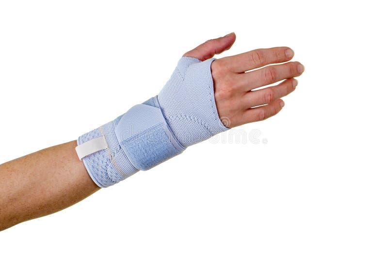 Kvinna som bär det understöda hand- och handledstaget arkivfoto