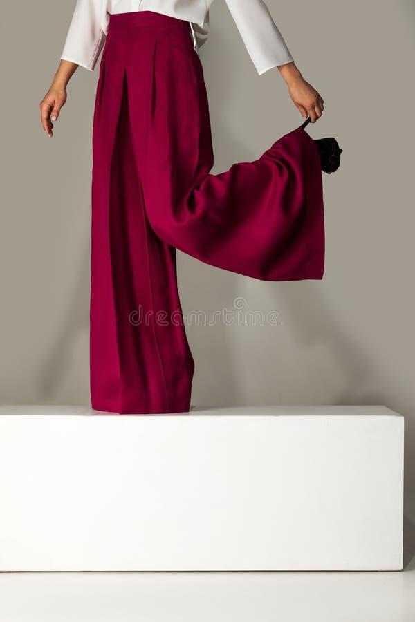 Kvinna som bär höga heeled skor i burgundy byxa arkivbilder