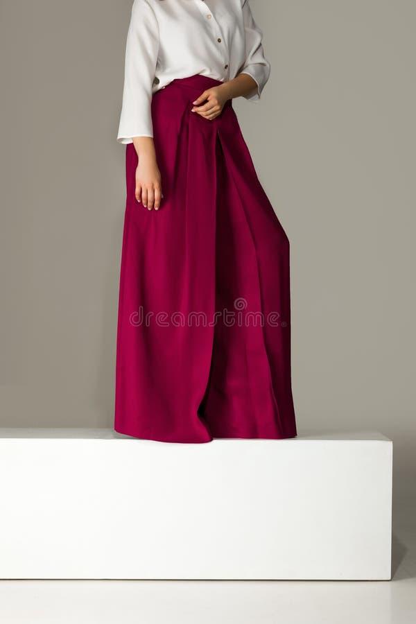 Kvinna som bär höga heeled skor i burgundy byxa arkivbild