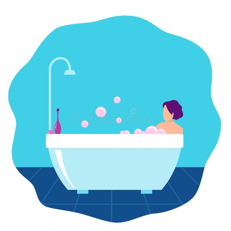 Kvinna som badar i badrummet royaltyfri illustrationer