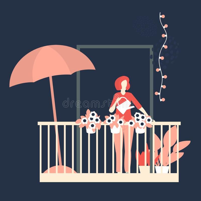 Kvinna som bevattnar blommor på balkong också vektor för coreldrawillustration vektor illustrationer
