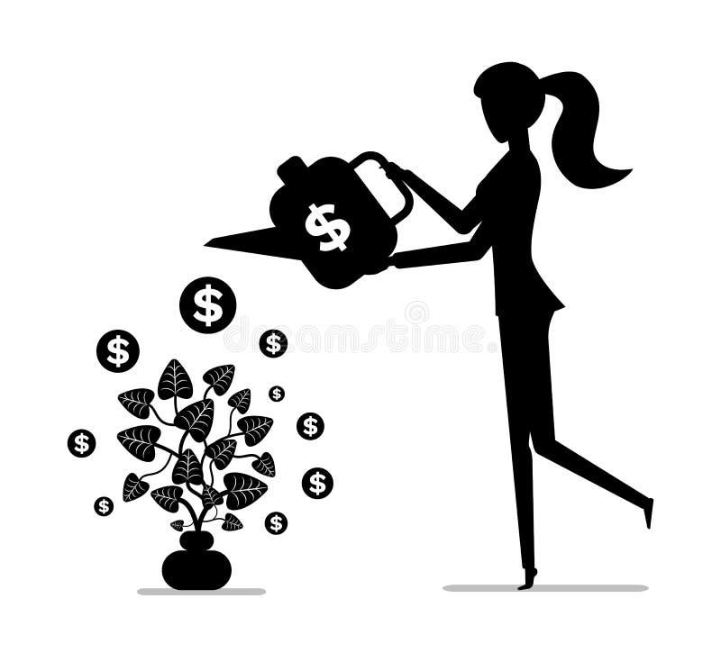 Kvinna som bevattnar pengarväxten som vinner pengarbegrepp stock illustrationer