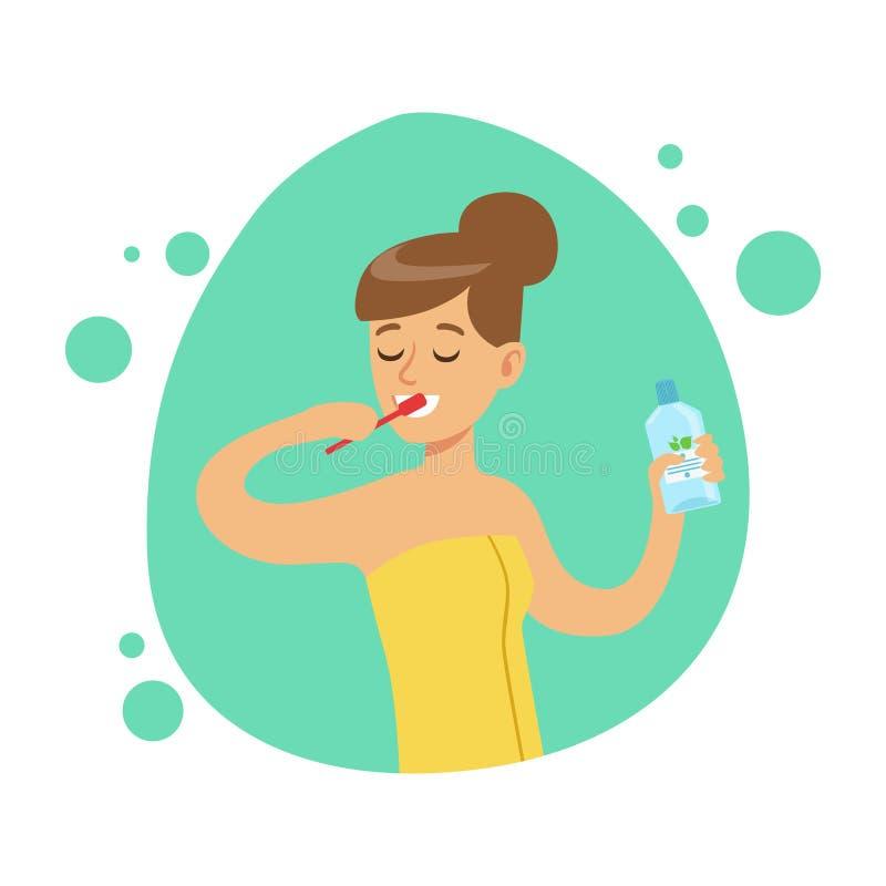 Kvinna som borstar tänder, del av folk i badrummet som gör deras rutinmässiga hygientillvägagångssättserie royaltyfri illustrationer