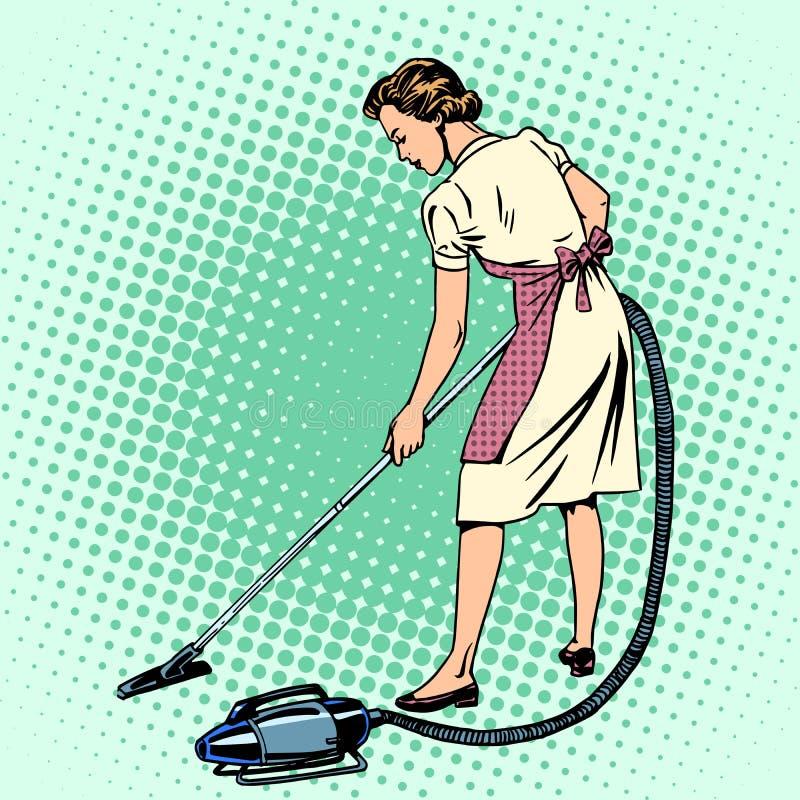 Kvinna som dammsuger rumhemmafruhushållsarbetet stock illustrationer