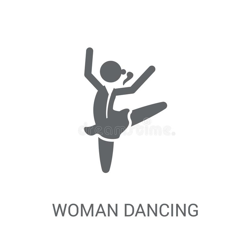 Kvinna som dansar balettsymbolen Moderiktig kvinna som dansar den conc balettlogoen royaltyfri illustrationer