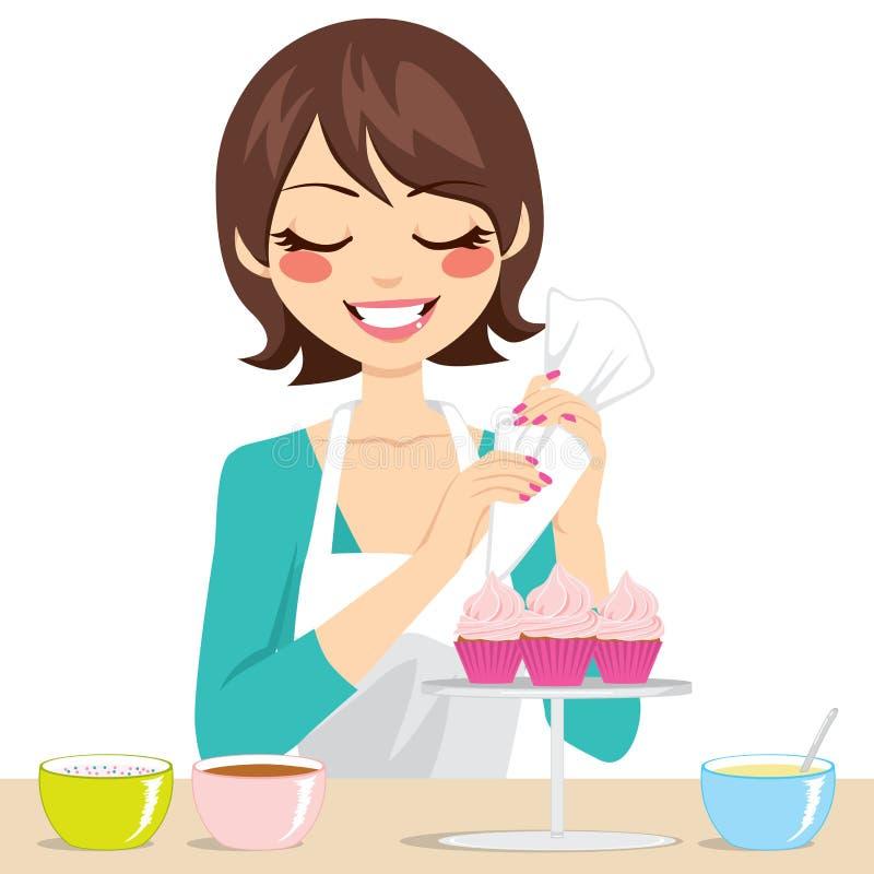 Kvinna som dekorerar muffin royaltyfri illustrationer