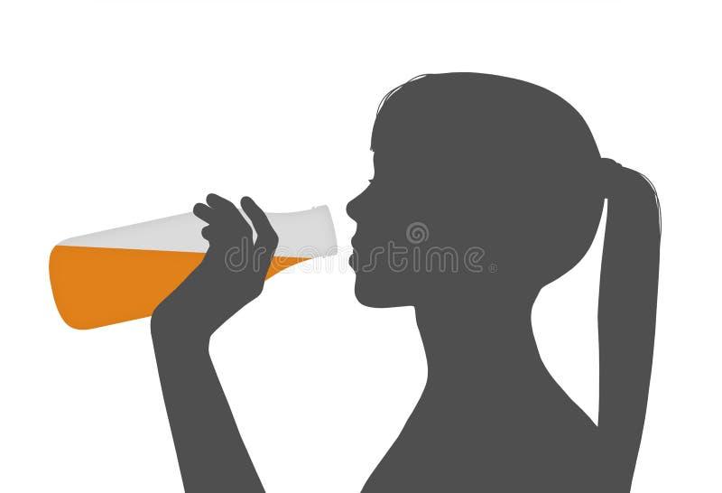 Kvinna som dricker fruktsaft royaltyfri illustrationer