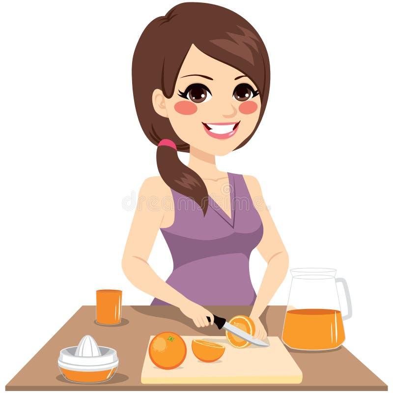 Kvinna som förbereder orange fruktsaft royaltyfri illustrationer