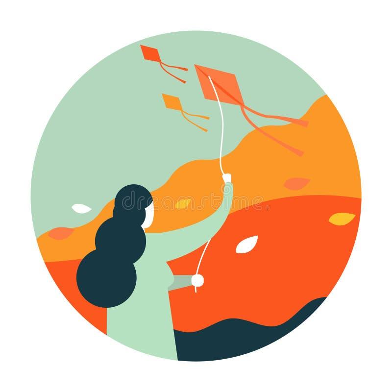 Kvinna som flyger en drake stock illustrationer